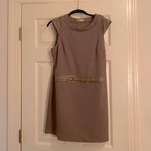 Retro mini light brown dress with cap sleeves